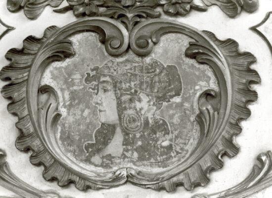 Schildering in de 'buik' van het orgel. Dit was reeds een overschildering van het origineel.